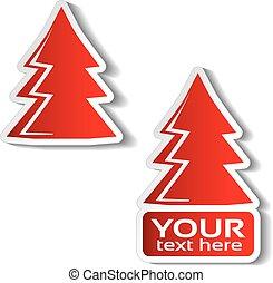 クリスマス, 冬の 木, ステッカー, 提供, セール, テキスト, ラベル, ペーパー, バックグラウンド。, ベクトル, 白, あなたの, 赤