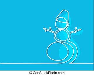 クリスマス, 冬, 雪だるま, 上に, 青, バックグラウンド。