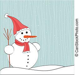 クリスマス, 冬, 雪だるま, 背景