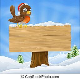 クリスマス, 印, 背景, ロビン