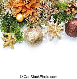 クリスマス, 型, ボーダー, 上に, 白