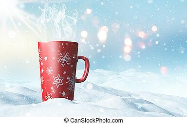 クリスマス, 大袈裟な表情をしなさい, 寄り添われる, 中に, 雪