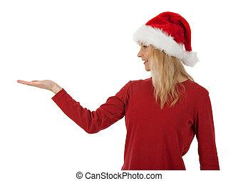 クリスマス, 女の子, 手を持つ, やし
