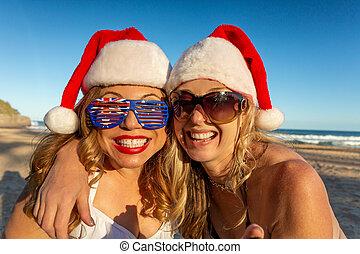 クリスマス, 女性ビーチ, 幸せ