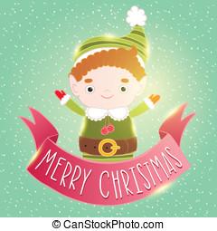 クリスマス, 妖精, カード, ∥で∥, リボン