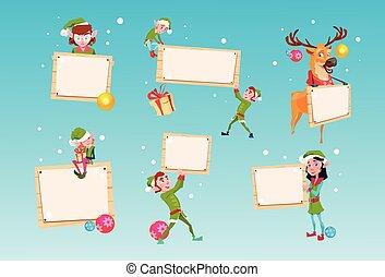 クリスマス, 妖精, グループ, トナカイ, 漫画, 特徴, santa, ヘルパー, 把握, 空, 印 板, 旗,...