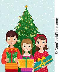 クリスマス, 子供, 朝