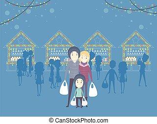 クリスマス, 家族, 市場, イラスト