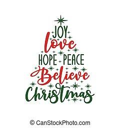 クリスマス, 希望, -, カリグラフィー, 喜び, stars.., 平和, 愛, テキスト, 信じなさい