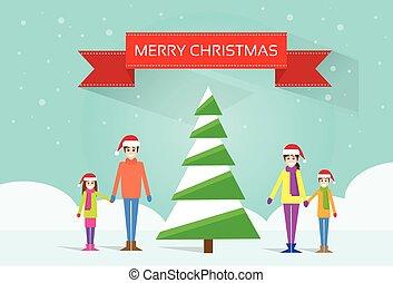 クリスマス, 幸せな家族, ∥で∥, 緑の木, グリーティングカード