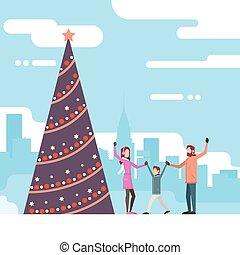 クリスマス, 幸せな家族, ∥で∥, 緑の木, 新年おめでとう, 祝福