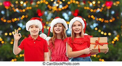 クリスマス, 幸せに微笑する, 贈り物, 子供