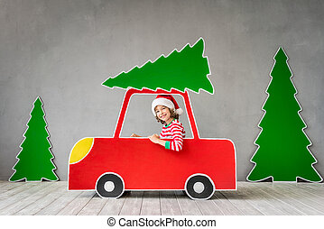 クリスマス, 幸せ, イブ, 子供