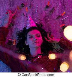 クリスマス, 彼女, body., 肖像画, 若い女性, ライト