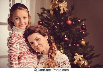 クリスマス, 微笑, 娘, イブ, 母