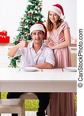 クリスマス, 恋人, 若い, 準備, 食事