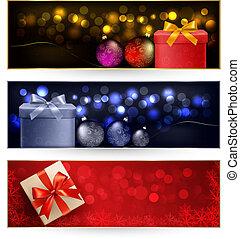 クリスマス, 旗, 冬, セット
