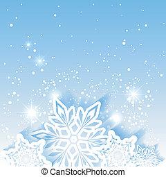 クリスマス, 星, 雪片, 背景