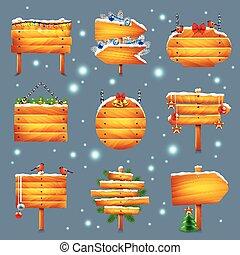 クリスマス, 木製である, サイン, ベクトル, セット