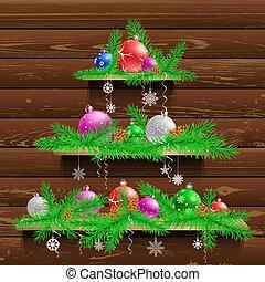 クリスマス, 木, 木, 3, 棚