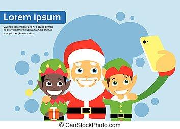 クリスマス, 条項, selfie, 特徴, 漫画, 電話, santa, 写真, 取得, 痛みなさい, 妖精