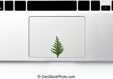 クリスマス, 概念, スペース, 木, text., laptop., 創造的, 成長する, あなたの, から