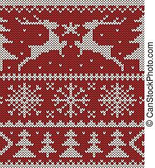 クリスマス, 編まれる, パターン