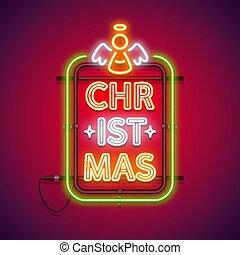 クリスマス, 縦, 天使, 赤, ネオン 印