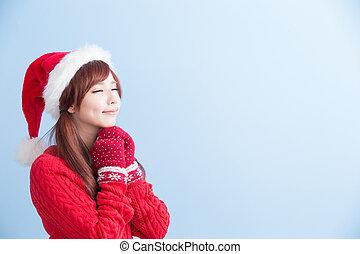 クリスマス, 美しさ, 女の子, 作りなさい, 願い