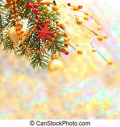 クリスマス, 背景, ∥で∥, ぼんやりさせられた, 冬, 雪, bokeh
