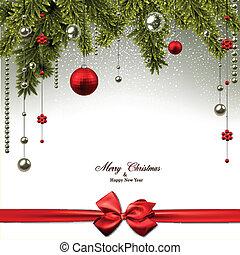 クリスマス, 背景, ∥で∥, モミ, ブランチ, そして, balls.