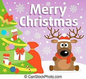 クリスマス, 背景, カード, ∥で∥, 鹿