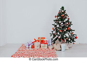 クリスマス, 背景, プレゼント, 木, 白, 年, 新しい