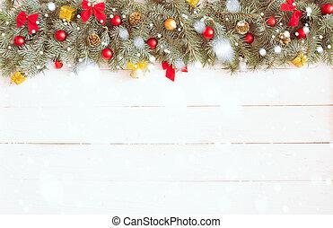 クリスマス, 背景, 上に, ∥, 白, 木製の机