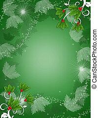 クリスマス, 背景, 西洋ヒイラギ, きらめき