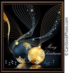 クリスマス, 背景, 金, と青