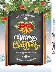 クリスマス, 背景, 黒板