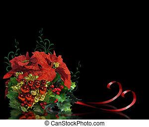 クリスマス, 花, 上に, 黒