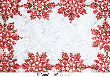 クリスマス, 装飾用である, フレーム, ∥で∥, 雪片, 上に, snow.