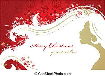 クリスマス, 赤い背景, ∥で∥, 女 シルエット