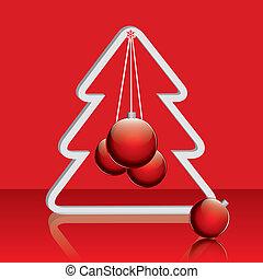 クリスマス, 赤, 木, ボール