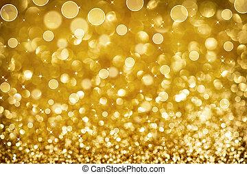 クリスマス, 金, きらめく, background.holiday, 金, 抽象的, texture.bokeh