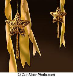 クリスマス, 金, リボン, 星