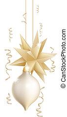 クリスマス, 金, 美しい, 白