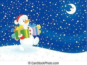 クリスマス, 雪だるま, ∥で∥, 贈り物