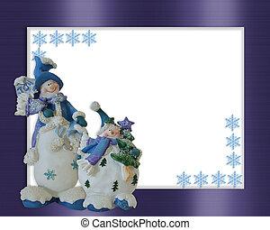 クリスマス, 雪だるま, ボーダー, 青, 装飾