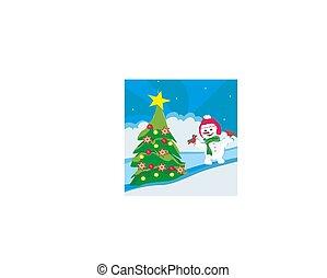 クリスマス, 雪だるま, 中に, 冬