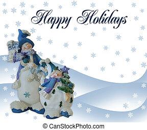 クリスマス, 雪だるま, 休日, カード