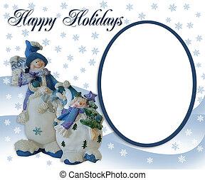 クリスマス, 雪だるま, 写真, グリーティングカード