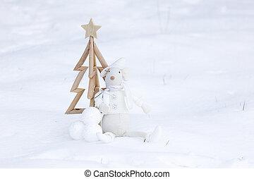 クリスマス, 雪, 安っぽい飾り, 単純である, 新たに, 木, 装飾